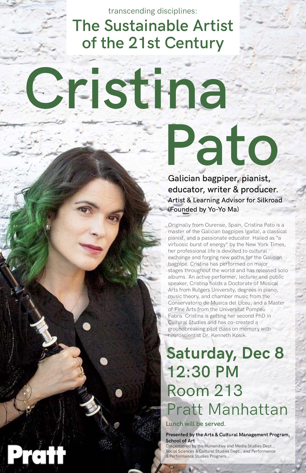 Cristina Pato – The Sustainable Artist of the 21st Century - Pratt - Manhattan